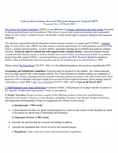 summer research mini grant request for proposal
