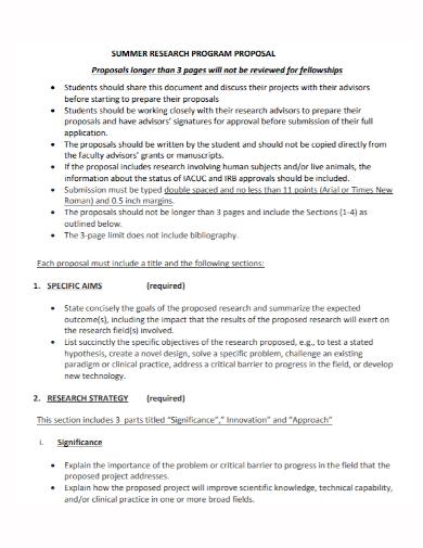 summer research program proposal