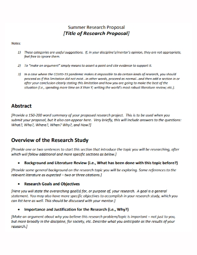 summer research title proposal