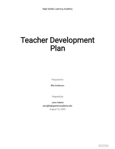teacher development plan template