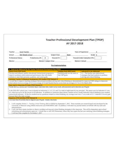 teachers professional development plan