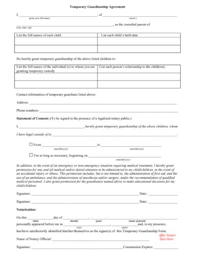 temporary guardianship agreement