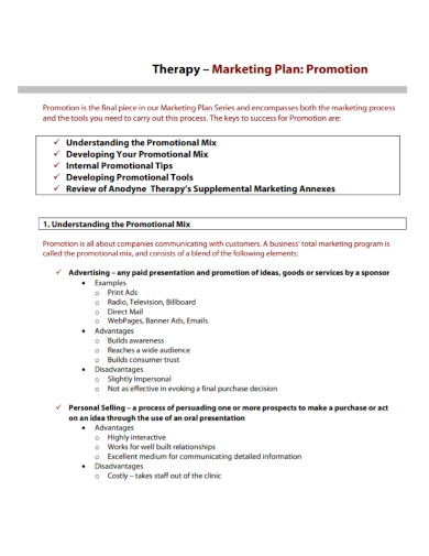 therapy marketing promotion plan