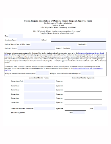 thesis dissertation project proposal form