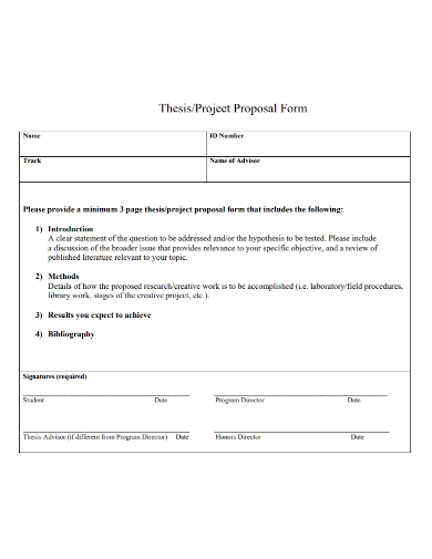 thesis project proposal form