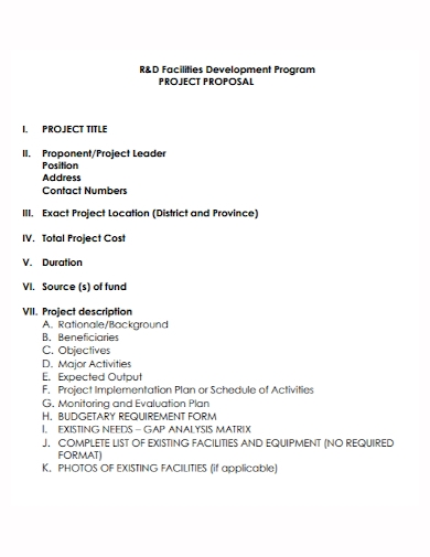 title project program proposal
