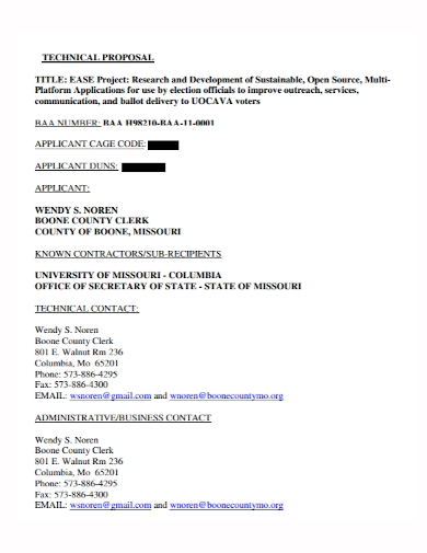 title project technical proposal