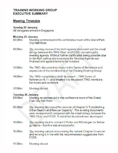 training group meeting executive summary