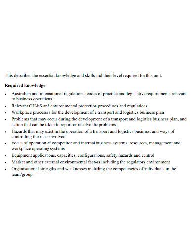 transport and logistics business plan