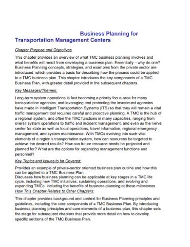 transportation management business plan