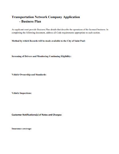 transportation network company business plan