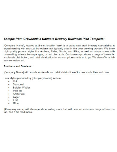 ultimate brewery business plan