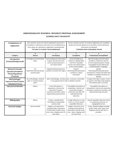 undergraduate research assessment proposal