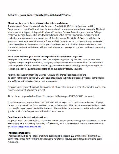 undergraduate research fund proposal