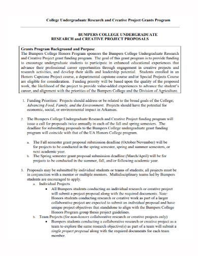 undergraduate research grant program proposal