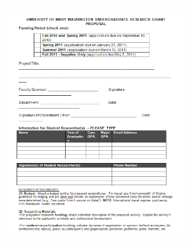 undergraduate research grant proposal