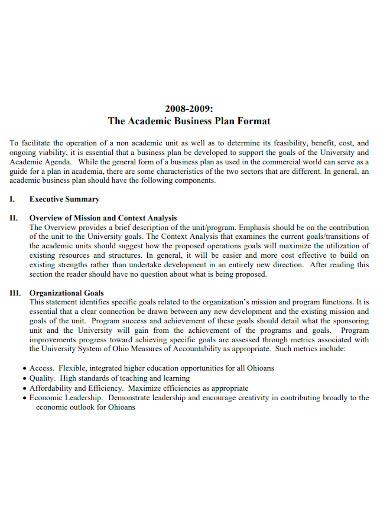 university academic business plan