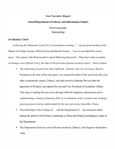 university internship narrative report