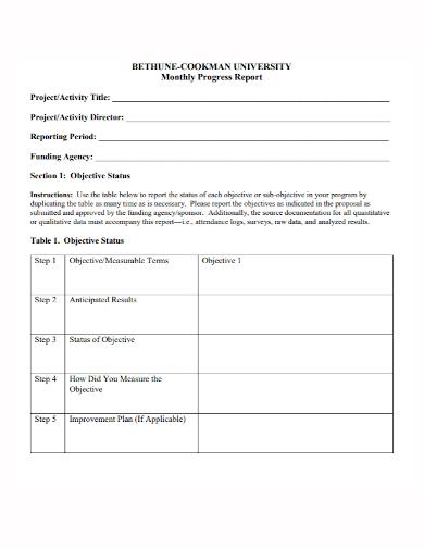 university monthly progress report