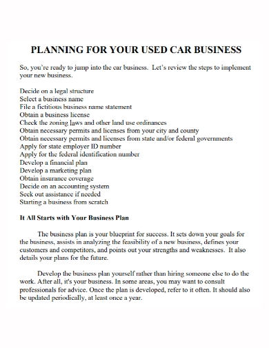 used car business plan