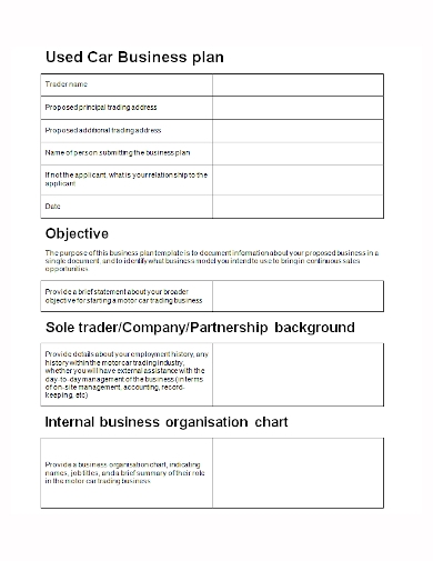 used car trader business plan