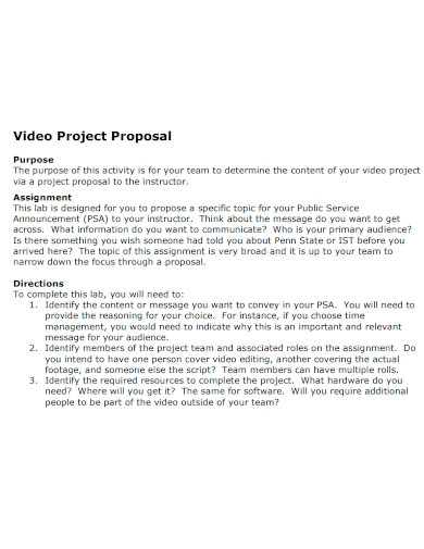 video project proposal format