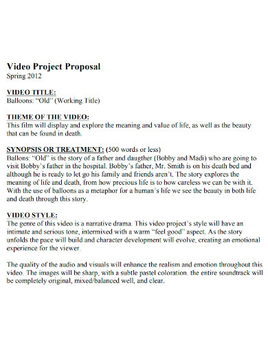 video project proposal sample