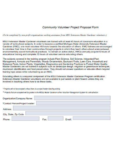 volunteer project proposal format