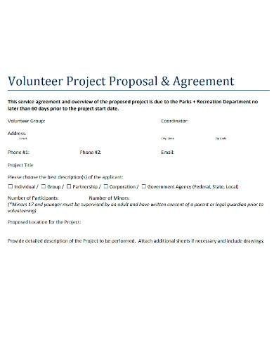volunteer project proposal and agreement