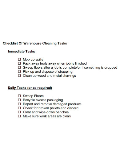 warehouse cleaning checklist sample
