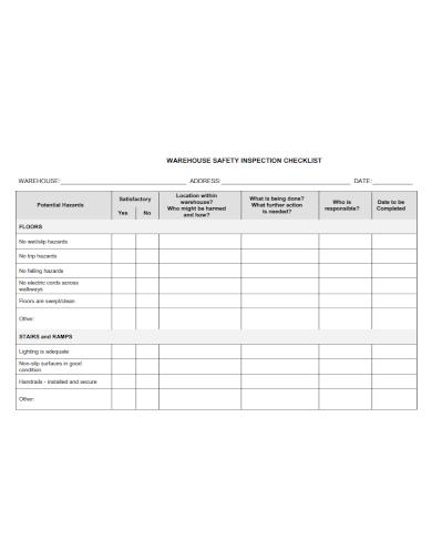 warehouse safety inspection checklist