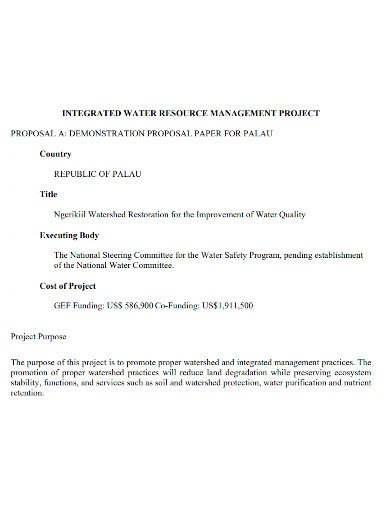 water resource management project proposal