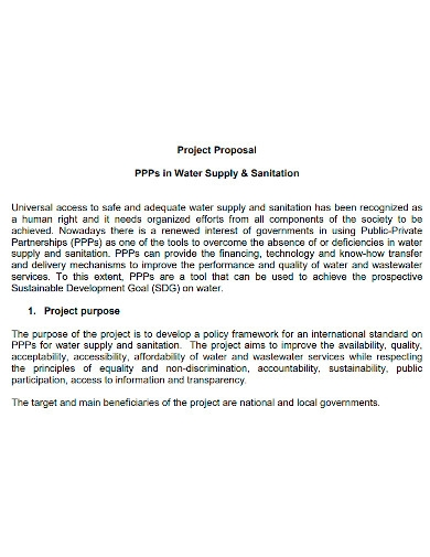 water supply project proposal