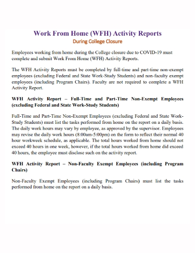 work from home activity report