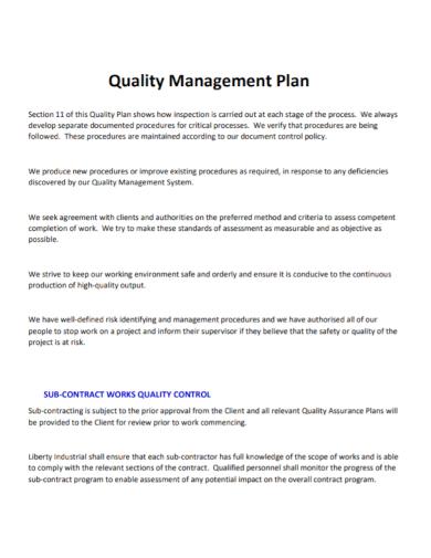 work quality management control plan