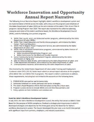 workforce annual narrative report
