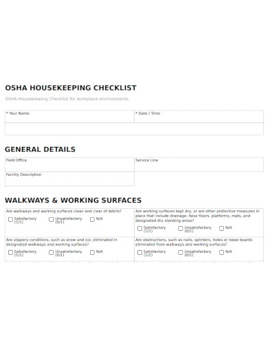 workplace housekeeping checklist format