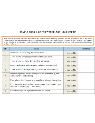 workplace housekeeping checklists
