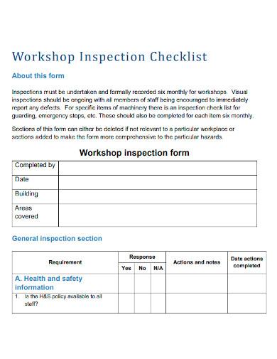 workshop inspection checklist format