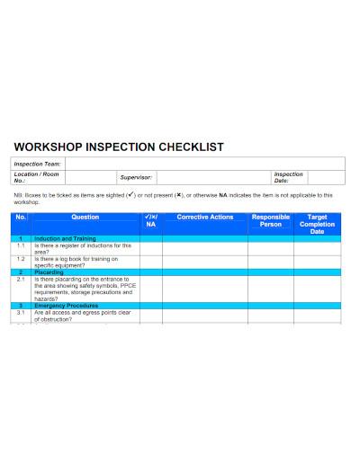 workshop inspection checklist sample