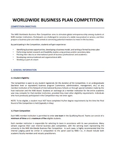 world wide competition business plan