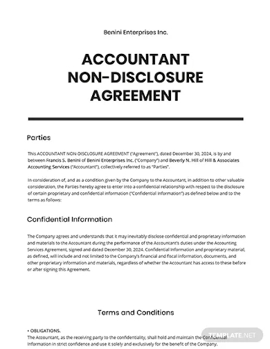accountant non disclosure agreement template