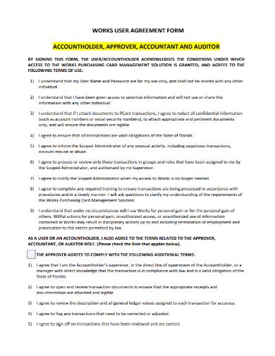accountant work user agreement