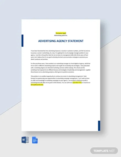 advertising agency statement template