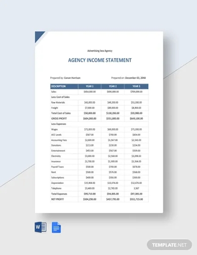 agency income statement template