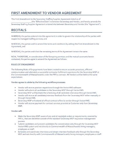 amendment to vendor supplier agreement