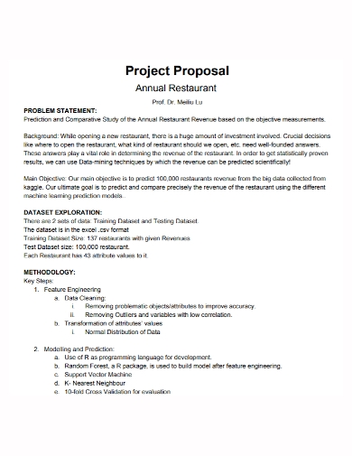 annual restaurant project proposal