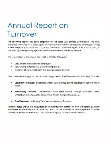 annual turnover report