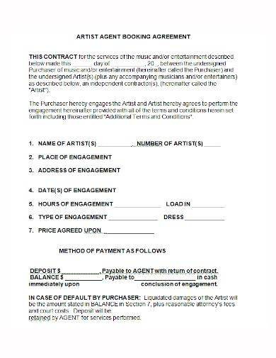 artist agent booking agreement