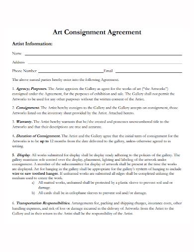 artist agent consignment agreement